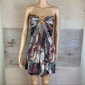 Sky Snake Print Strapless Mini Dress